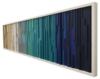 Wall Art - Wood Wall Art -  Wood Sculpture - Modern Reclaimed Wood - 3D Art - Headboard Ocean Coastal 72x18