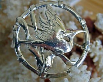 Vintage Sterling Silver BRKS Round Bird Pin Brooch Crane or Heron