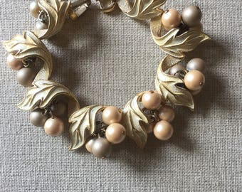 Vintage 'Pearl' and Brushed 'Gold Leaf' Tone Bracacelet