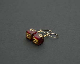 Gold and red Venetian glass earrings. Murano glass cube drop earrings. Gold drop earrings. Original gold jewellery. Unique beautiful gifts.