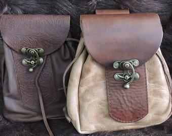 In-Stock Medium Sporran Design Leather Belt Bag / Pouch Medieval, Bushcraft, LARP, sca, Costume, Ren Faire, Plain, Brown