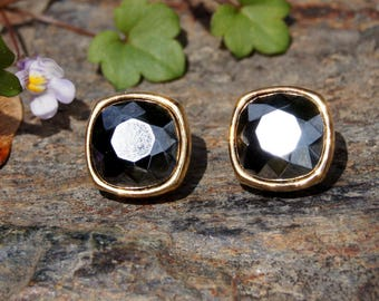 Givenchy Hematite Crystal Cut Studs