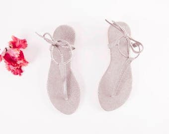 Minimal Light Grey Textured tie up Sandals | Up-cycled soft leather sandals | Grey Textured | Ready to Ship | Last two pairs, size 38 and 40
