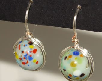 Earrings-Wire wrapped jewelry - Silver plated wire and confetti lampwork beads
