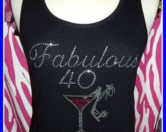 Fabulous 40 Birthday tank top 40th Martini Rhinestone Birthday tank top 50 birthday Girls night out Birthday trip 50th birthday party pink
