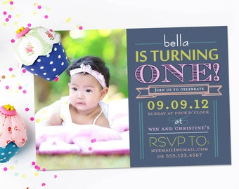 Cute First Birthday Invitation - Shout it Out - Girl or Boy - Modern - Printable or Printed Invitation