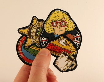 twin peaks stickers laptop labels tags - the log lady illustration