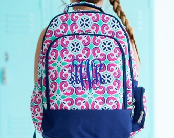 FREE pencil pouch offer FREE monogramming - Personalized Monogrammed Full sized Embroidered Mia Tile Backpack