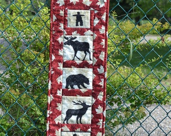 Red Oh Canada Wall hanging, Inukshuk, Moose, Caribou, Bear, Loon, Salmon, Canadian Art, Canadian Souvenir