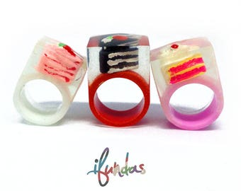 Resin Cake Ring, Hand Made, Chunky Statement Ring, Cake Ring, Resin Ring, Pink ring, cake, chunky ring, clear ring, red ring, white ring