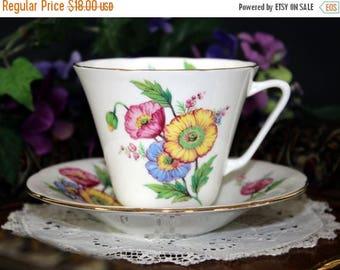ON SALE Royal Grafton Teacup and Saucer, English Bone China Teacup, Colorful Poppies 13273