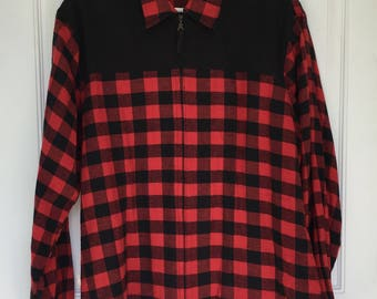Men's vintage 80's classic red and black buffalo checkered plaid long sleeve zip up T-shirt size xl