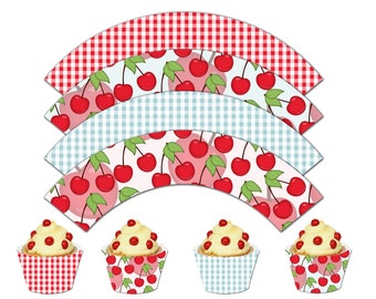 Sweet Cherry Cupcake Wrappers, Birthday Printable Cupcake Wrappers, Cherry Theme Party Decor - Instant Download - DP499
