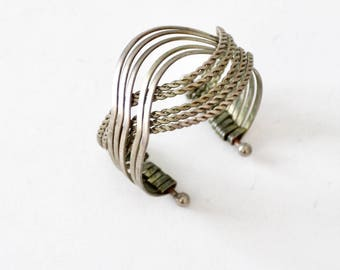 vintage woven silver cuff, twisted metal bracelet