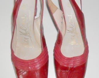 Vintage 1960s Red Patent Leather Slingback Shoes size 3 UK (Narrow Fit)