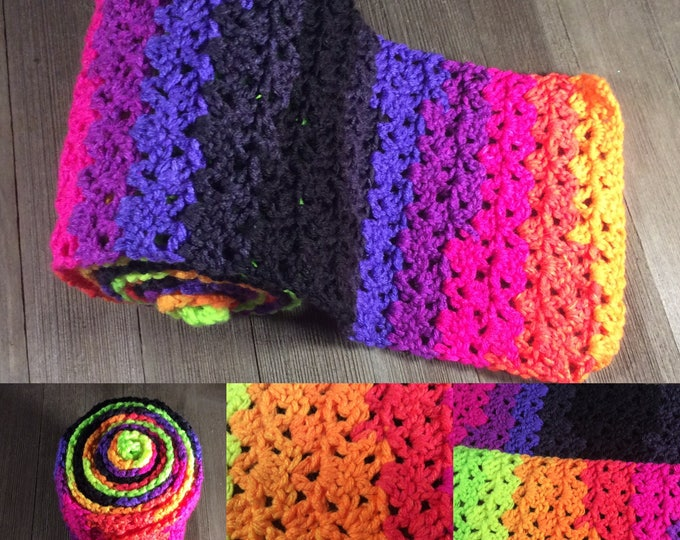 Jazzy Striping Scarf ~*~Crochet~*~ Bright Stripes