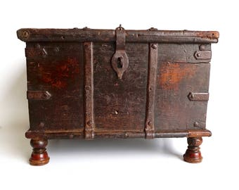 Antique Campaign Chest Old Rustic Teak Trunk Shipping Included in the U.S.