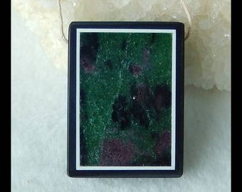 Ruby And Zoisite,Black Stone Intarsia Pendant Bead,31x23x6mm,11.8g(f0144)