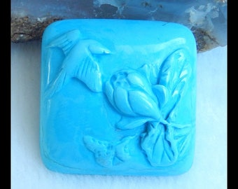 Carved Howlite Gemstone Cabochon,Carved Flower And Bird Cabochon,28x28x8mm,9.2g(f0628)