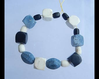 New Design!! Blue Fossil Coral, Howlite And Obsidian Gemstone Loose Beads,Bracelet Gemstone Bead,11x11mm,8x6mm,24.2g(h0420)