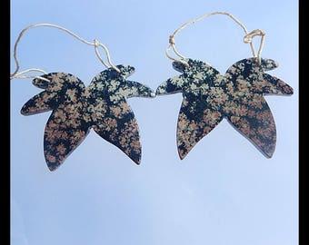 Lovely Earring -Handmade Carved Snow Flake Obsidian Earring Bead,43x32x3mm,12.4g(CE018)