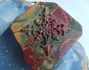 New,Carved Multi-color Picasso Jasper  Pendant Bead,63x56x11mm,77.0g(Cp041)