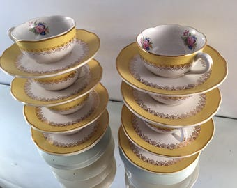 French teaset, antique teacups, tea lover wife gift,  french coffee set, coffee cups, vintage teacups, Digoin sarreguemines, vintagefrench,