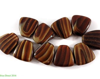 10 Tortoise Shell Trade Beads Glass Loose Africa 109425