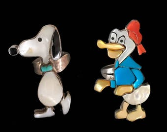 RESERVED --layaway payment--Donald Duck Zuni Ring / Snoopy Zuni Ring