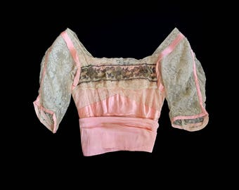 Antique Blouse / Pink Silk and Ecru Lace Victorian Bodice / Metallic Gold Bullion Embroidery / Boned / Exquisite