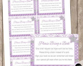 Twinkle Twinkle Little Star Book Request Card for baby shower,  purple and silver, purple, faux silver glitter insert INSTANT ls3