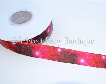 "New *** Cosmic Galaxy 7/8"" Grosgrain US Designer Ribbon"