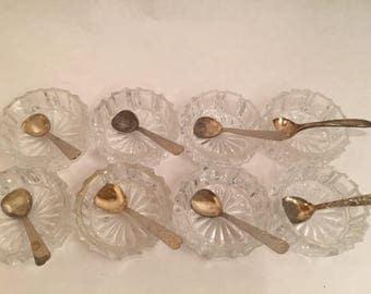 8 Crystal Salt Cellars with spoons