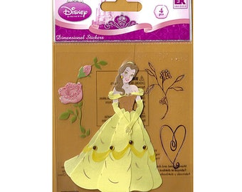 Beauty and the Beast Princess Belle in Yellow Dress Roses Disney Scrapbooking EKSucess Stickers