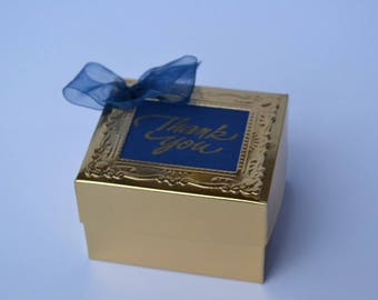 Blue and gold gift box, party favor, Wedding favor, sweet 16, ready to fill, no fuss