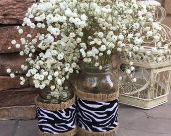Mason Jar Wrap, Zebra Print & Burlap, Jar Decoration, Shower, Party, Wedding, Centerpiece, Decoration