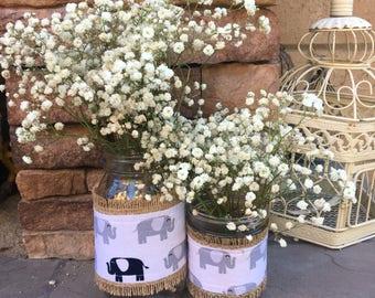 Mason Jar Wrap, Elephant, Safari Animal Zoo Jungle, Mason Jar Decoration, Baby Shower, Party, Wedding Decoration