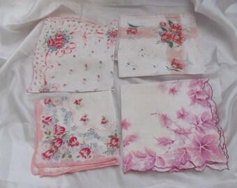 Hankies Lot of 4 Printed Vintage Antique Handkerchief Hankies (Lot 25Z)