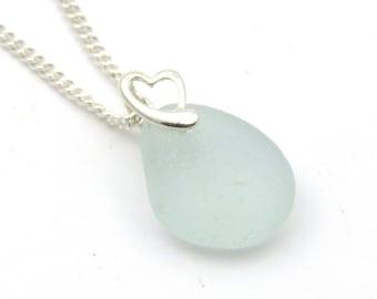 Seaspray Sea Glass Pendant Necklace Sterling Silver Heart Bail DAISI