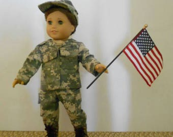 THANK you for your service Army Digital Camouflage ACU military uniform with boots fits 18 in dolls like American Girl