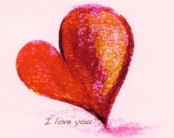 Valentine-Red Heart-I Love You-ACEO- Colorful Art Print by SQ Streater