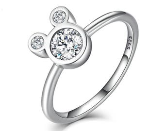 Sterling Silver Mickey Mouse Rhinestone Silhouette Ring