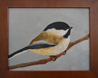 "Black Capped Chickadee Bird... Buy Bird Painting Online...Small Frame Art...8 x 10""  Bird Art...Painting Frame"