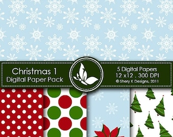 40% off Christmas Paper Pack 1 - 5 Printable Digital paper - 12 x12 - 300 DPI