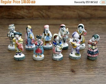 French Feves Porcelain Glazed- Villagers Townspeople Traditional Costume Attire - Figurines King Cake Baby Doll House Miniatures Mini