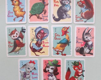 Vintage ANIMAL RUMMY DECK Miniature Junior Peter Pan Whitman Publishing Picture Playing Cards