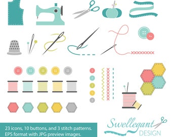 PERSONAL USE - Sewing & Quilting Vector Clipart - Hexies and Buttons