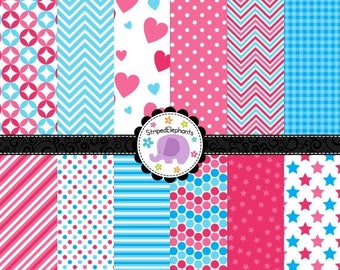 40% OFF SALE Pink and Blue Digital Paper Pack, Blue and Pink Digital Scrapbook Paper, Digital Backgrounds, Instant Download Commercial Use