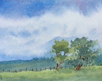 ACEO Original watercolor painting - Windy plains