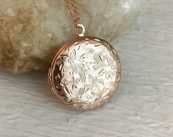 Small Rose Gold Locket Necklace, embossed locket, vintage style locket, photo locket, rose gold jewelry, rose gold pendant, romantic gift